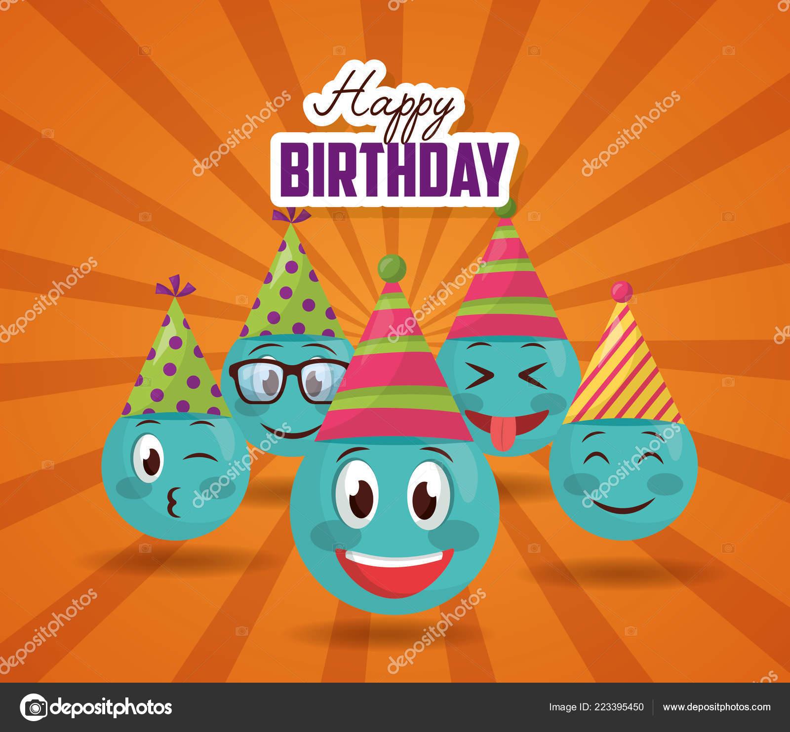 Happy Birthday Emoji Faces Smile Party Hat Stock Vector