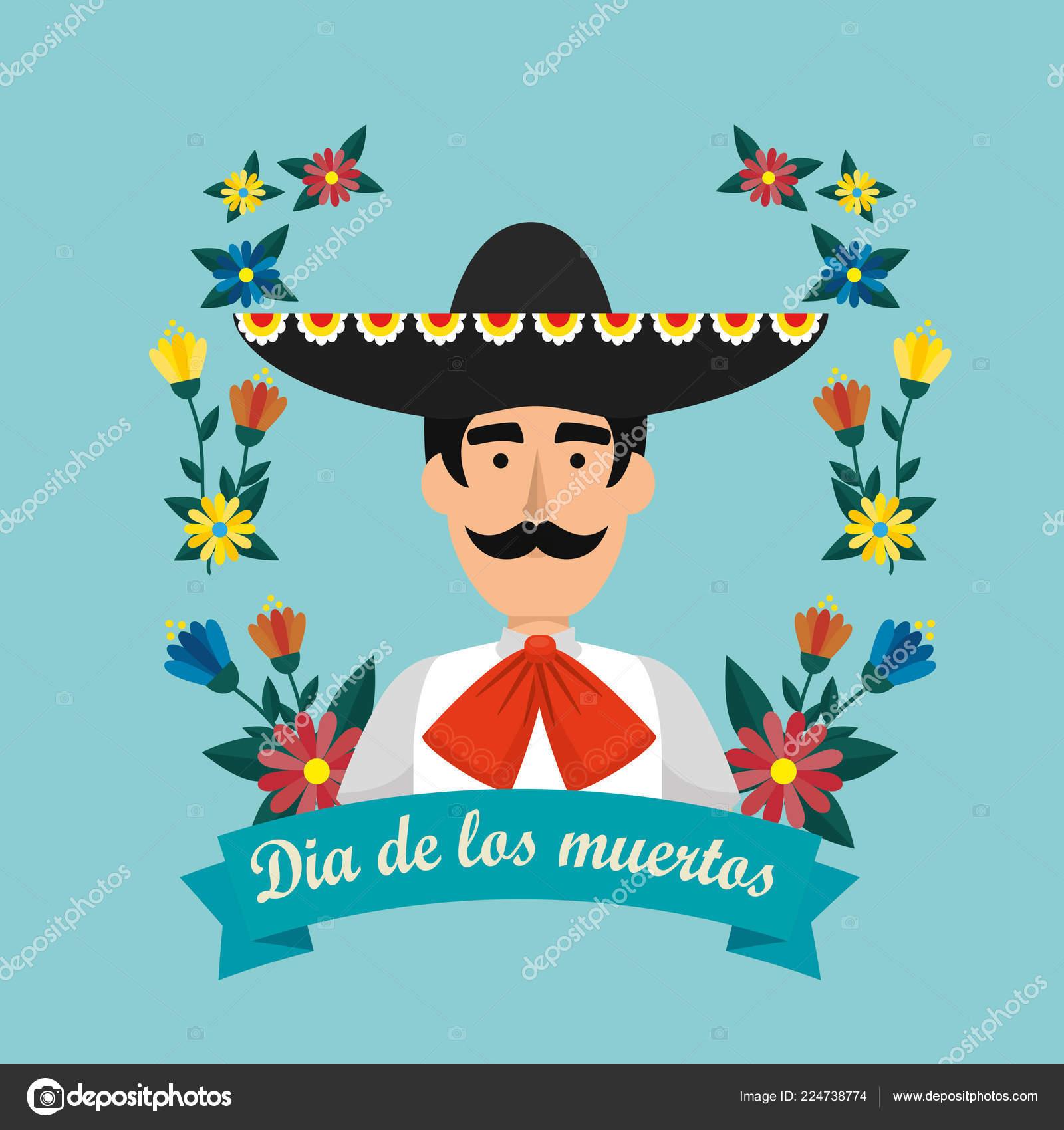 Mariachi messicano con il cappello e fiori alla illustrazione vettoriale di  evento — Vettoriali di yupiramos c069c5f79625
