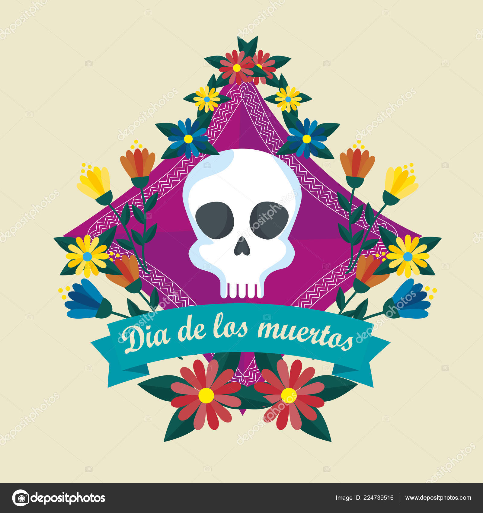 Skull with ribbon and flowers to celebrate day of the dead