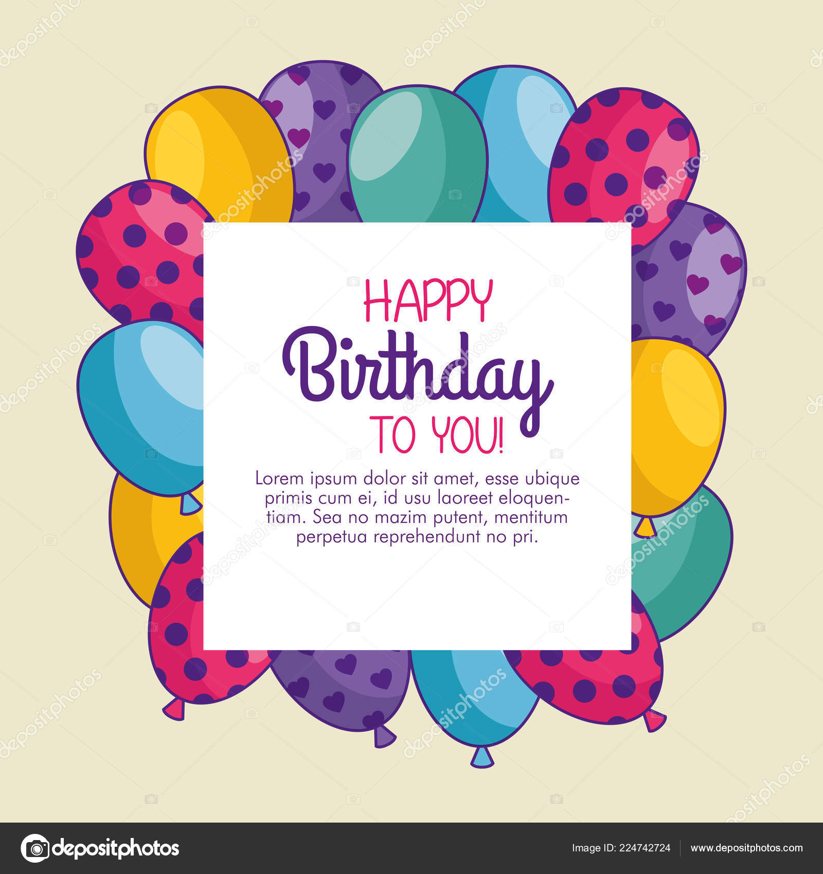 Happy birthday card with balloons decoration 6