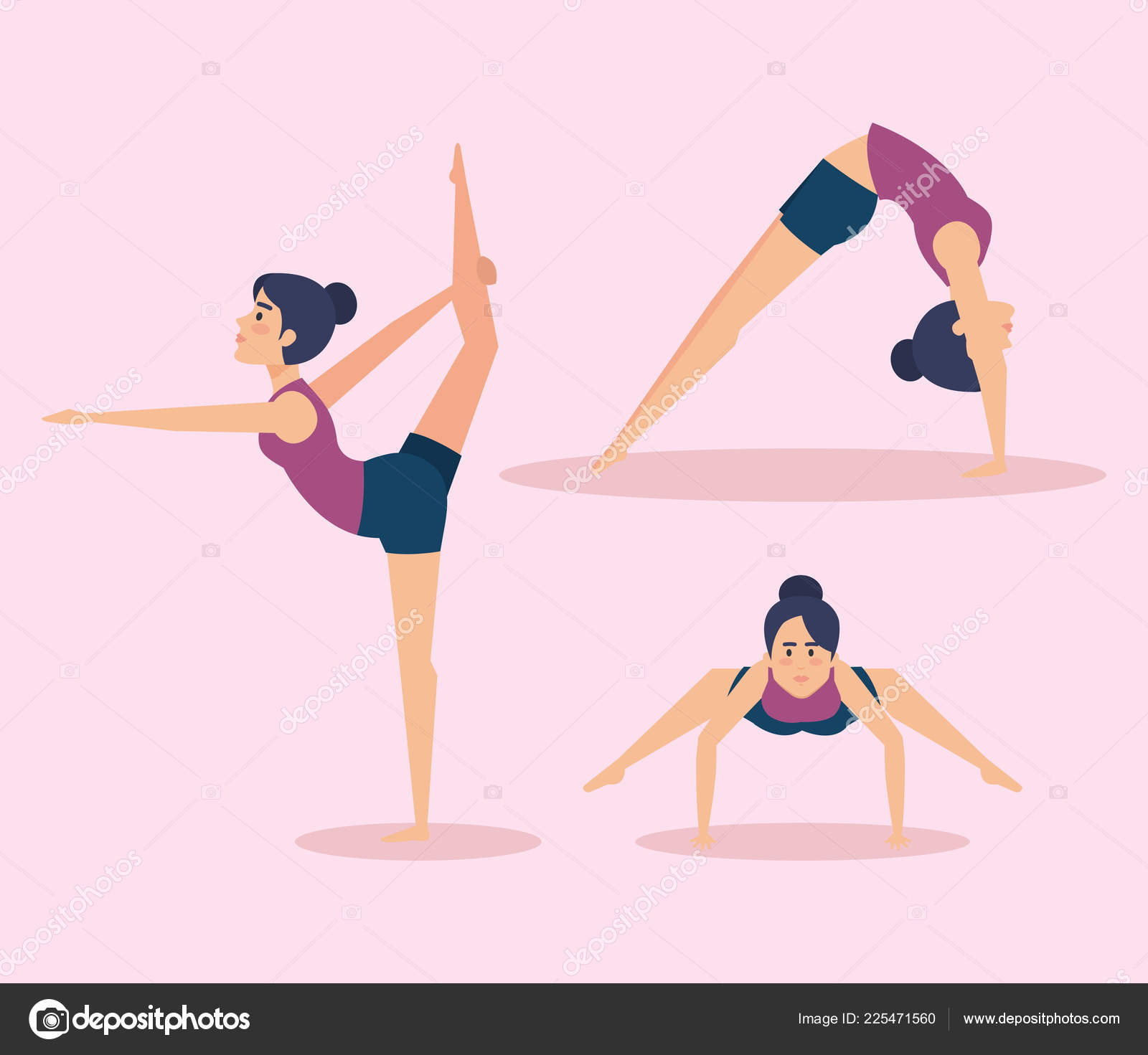 Juego de chicas haciendo diseño de yoga — Archivo Imágenes Vectoriales