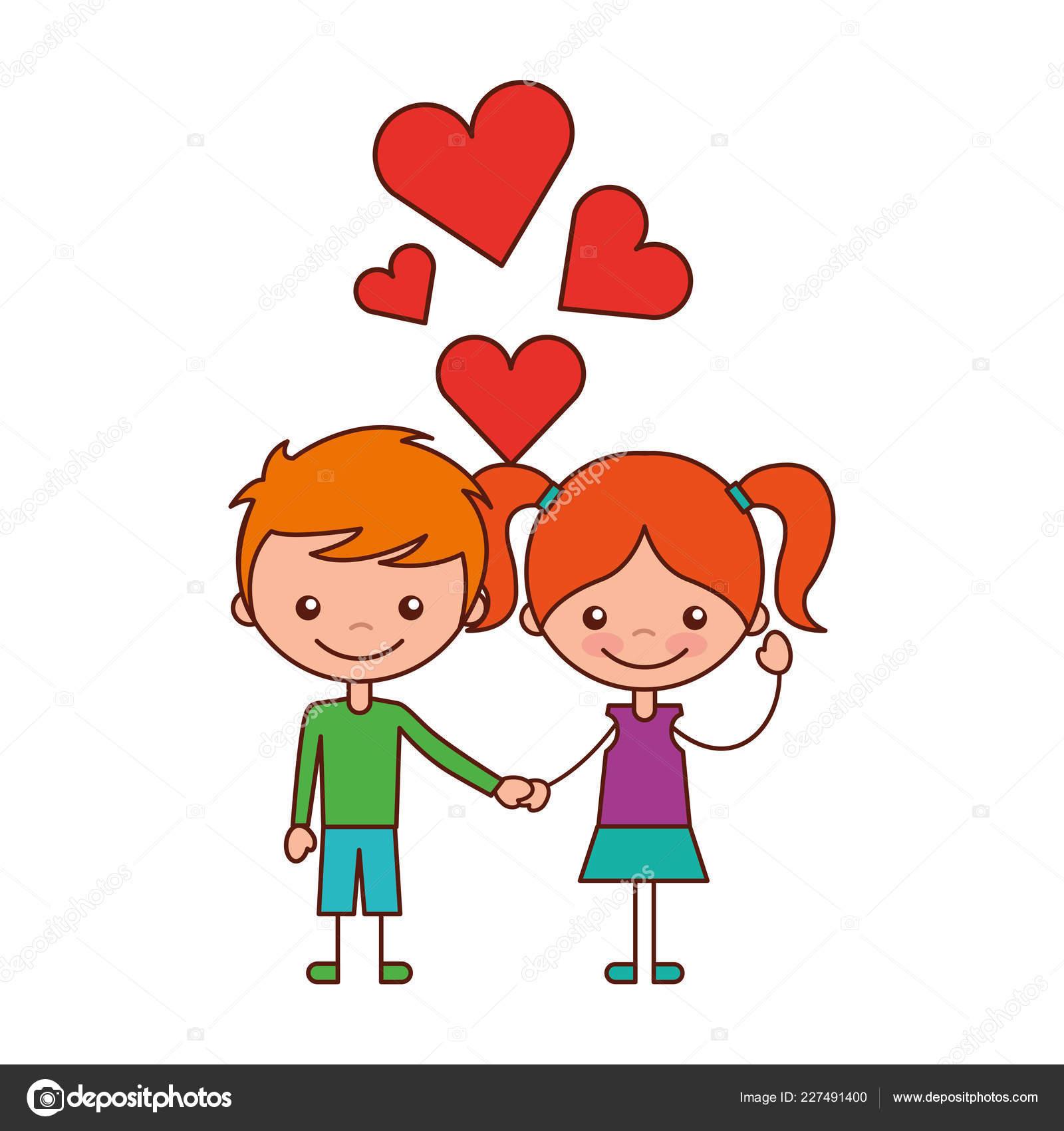 Boy and girl love hearts cartoon vector illustration stock illustration