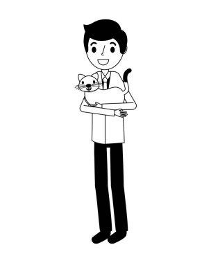 smiling man holding pet cat vector illustration vector illustration