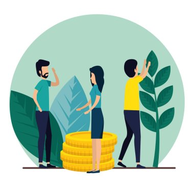 men and woman teamwork with coins and plants