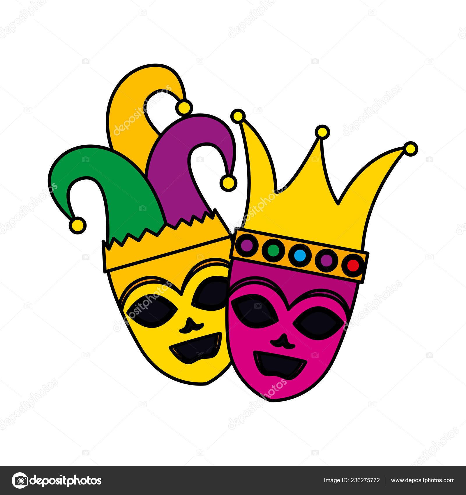 Máscaras de teatro y carnaval con sombrero de Arlequín y corona — Archivo  Imágenes Vectoriales e6d74671221