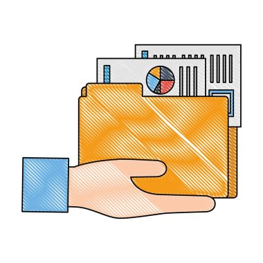 hand and folder with documents files