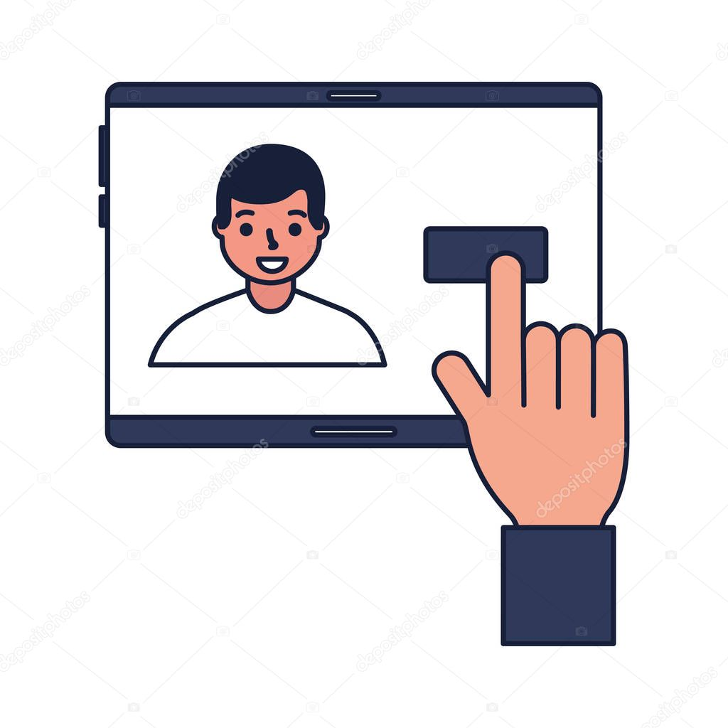 hand with mobile face scan man