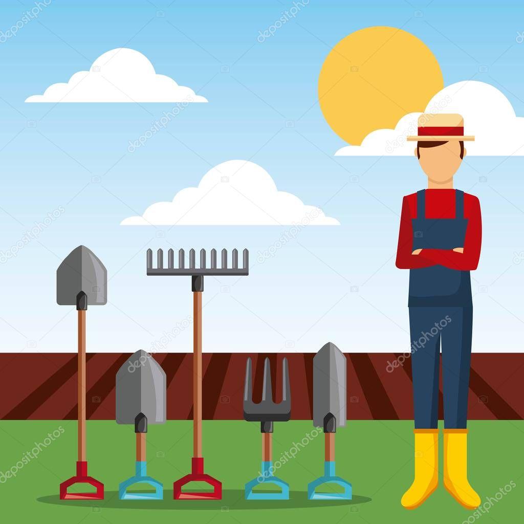 gardener with garden tools and plowing field vector illustration