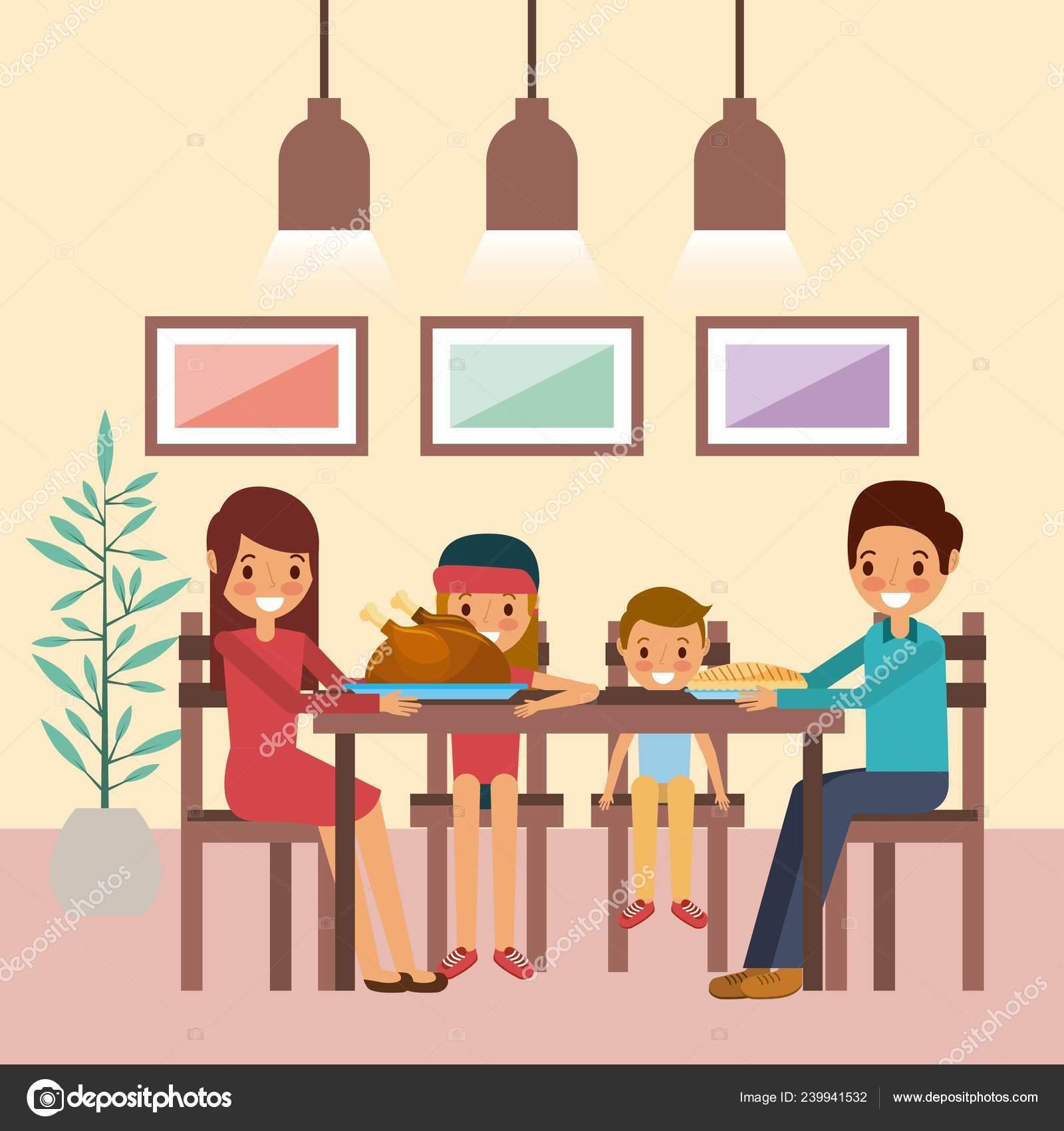 Famille ensemble dîner thanksgiving assis dans la table 40