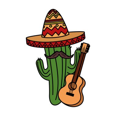 mexican cactus with hat maricachi and guitar