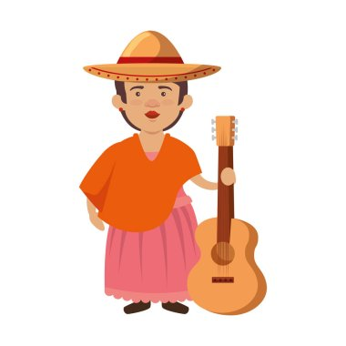 traditional mexican woman with hat and guitar