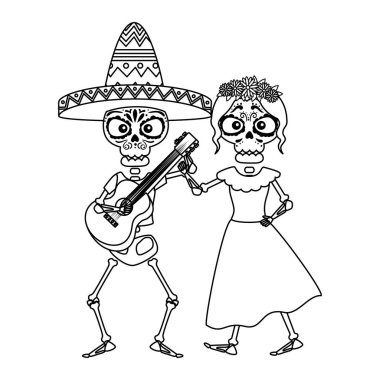 skeleton of katrina and mariachi playing guitar characters