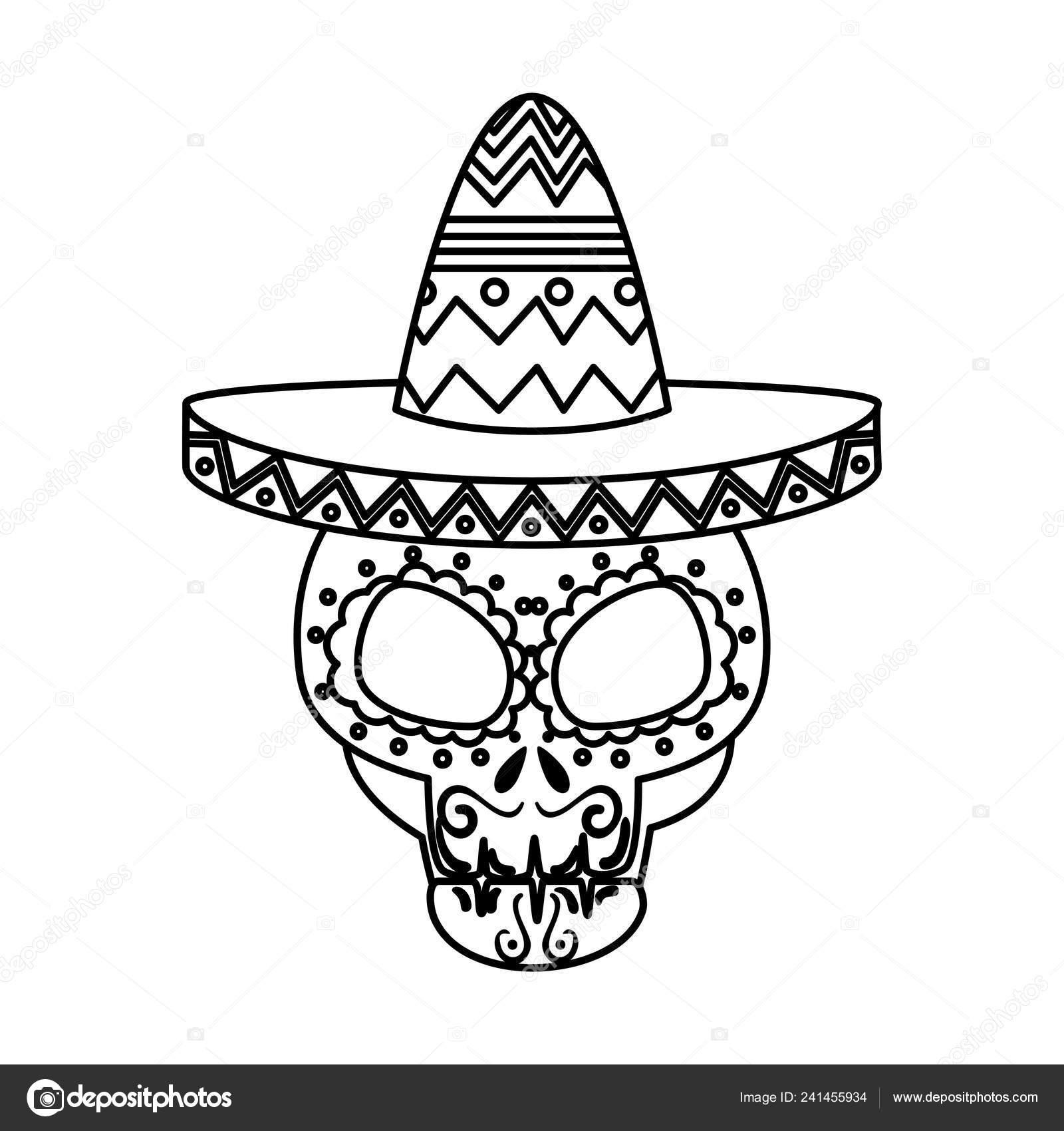 Maschera della morte giorno con mariachi cappello illustrazione vettoriale  — Vettoriali di yupiramos d01df78e4d95