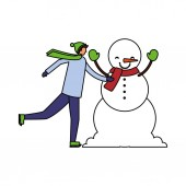 man with winter clothes and snowman