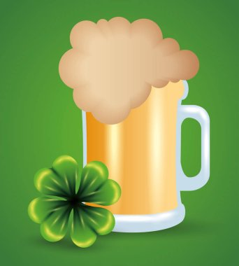 beer glass with clover to st patrick event