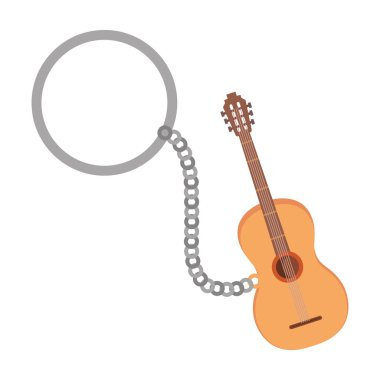 key chain with acoustic guitar vector illustration design