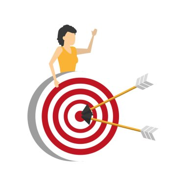 business woman with target arrows