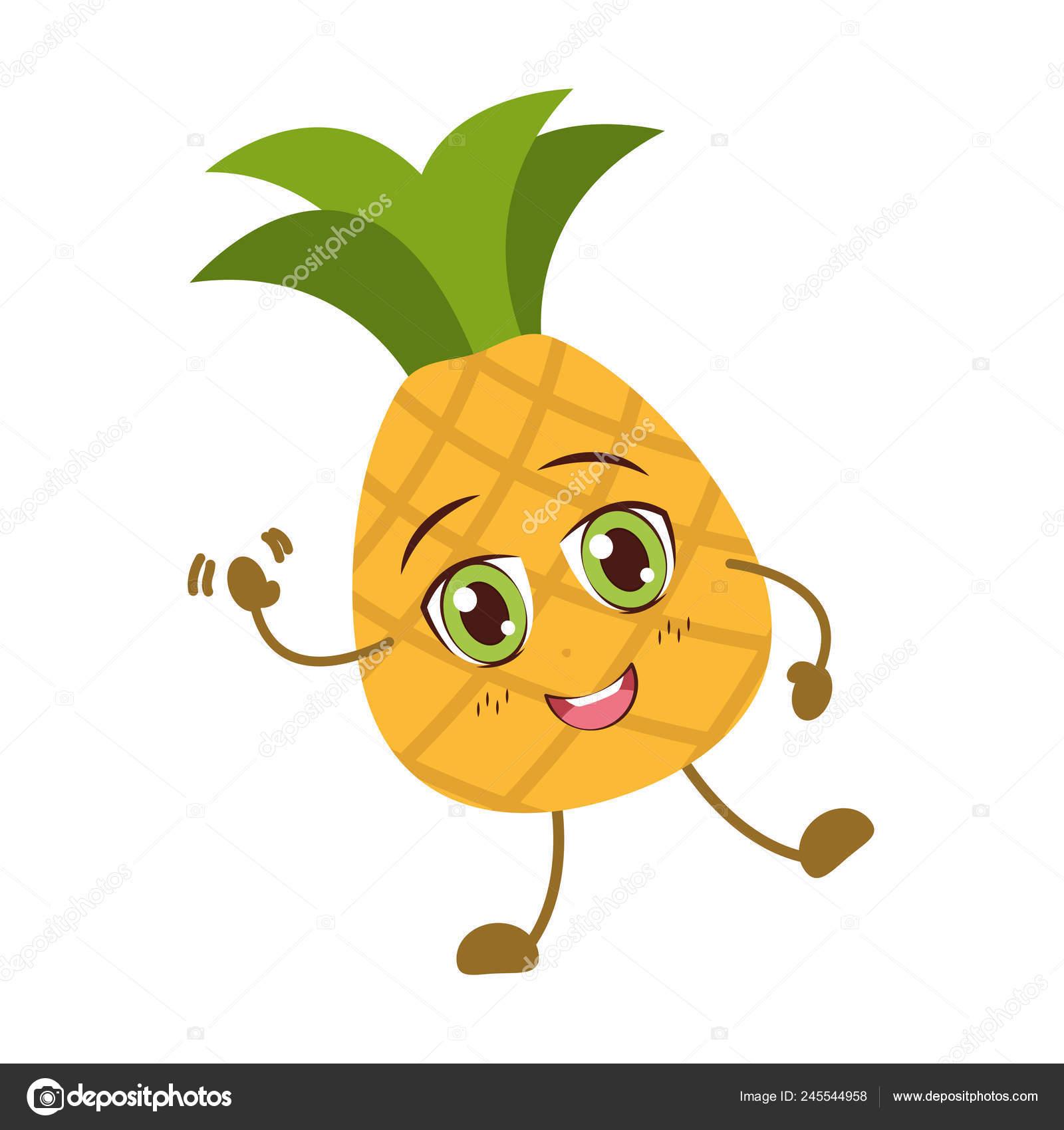 Personnage De Dessin Animé Kawaii Ananas Image Vectorielle