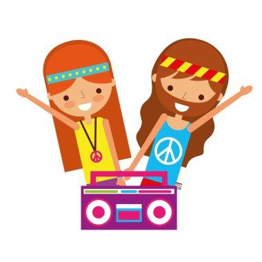 hippie couple boombox radio retro
