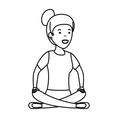 young woman in lotus position with store building
