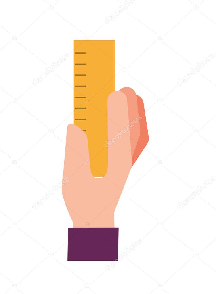 graphic designer hand holding ruler