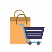 online shopping cart and paper bag