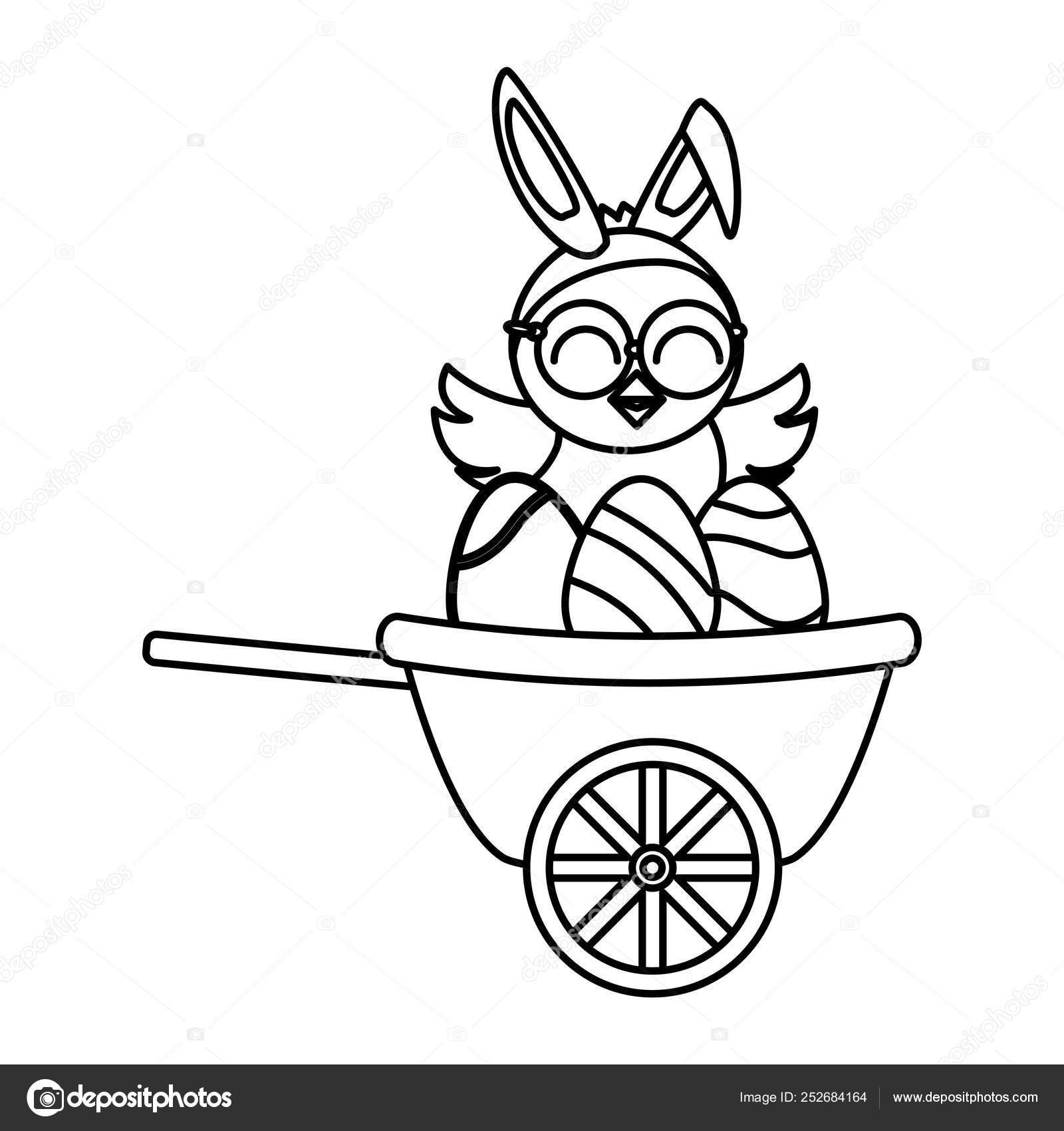 Niedliches Kleines Kuken Mit Eiern In Schubkarre Gemalt