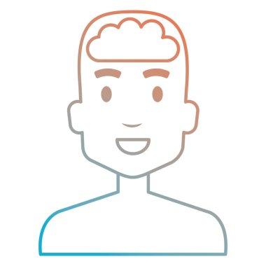 human profile with brain