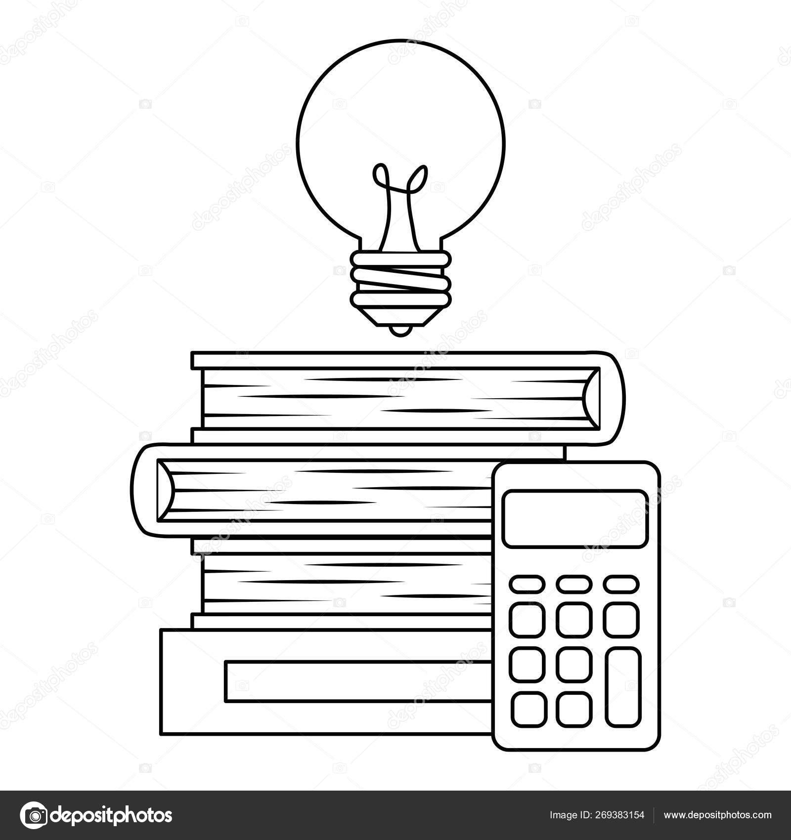 Pile text books with bulb and calculator — Stock Vector