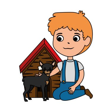 cute little boy with dog and wooden house