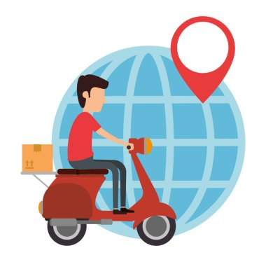 delivery worker in motorcycle and planet