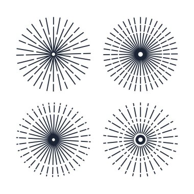 set of line enjoy fireworks over white background
