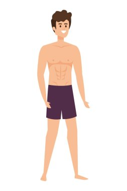 young man with swimsuit avatar character