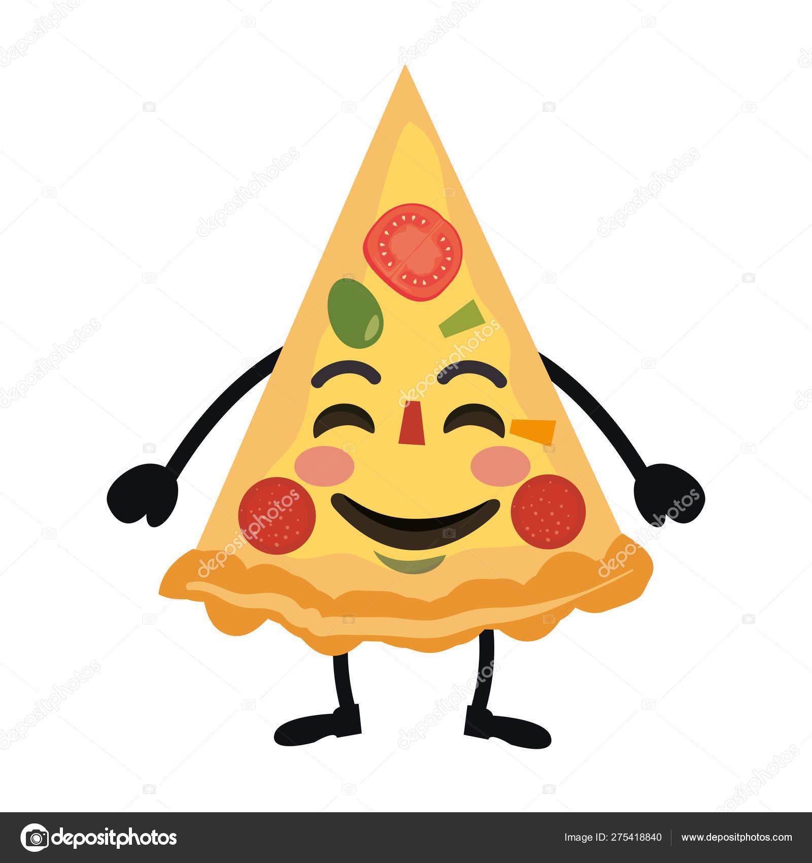 Delicious Pizza Kawaii Character Vector Illustration Stock