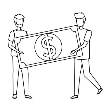 young men lifting bill money dollar characters