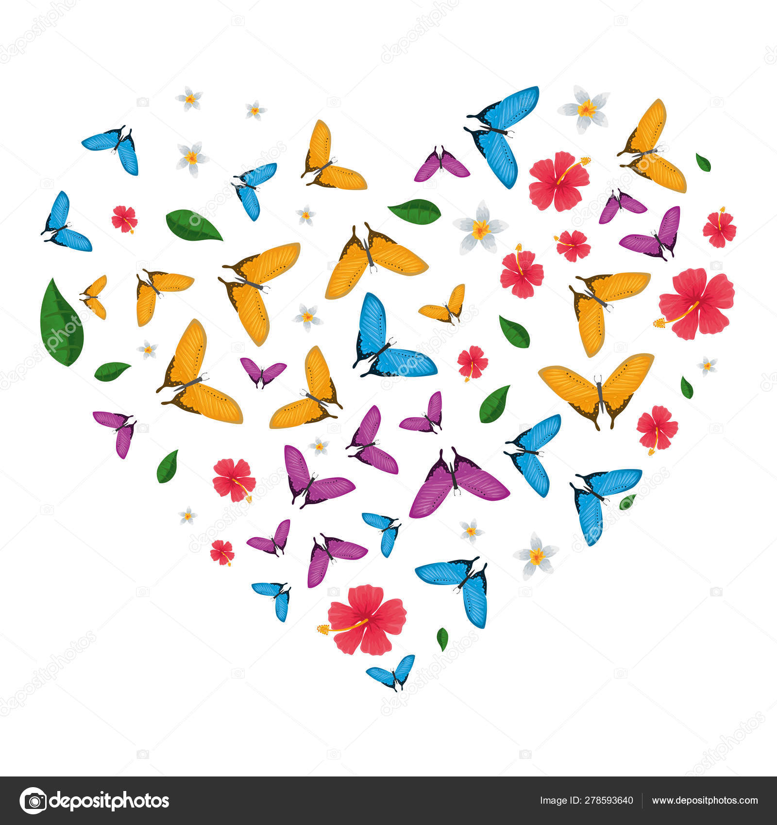 Butterflies Flying And Flowers Pattern With Heart Shape