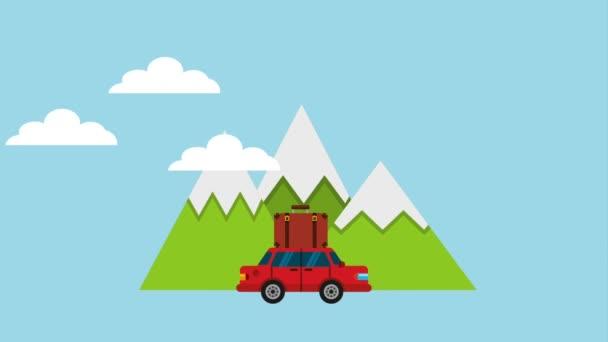 automobil kufr hory mraky cesty cesty cesty ikony