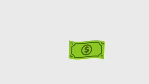 Dollarscheine fallen zum Ausgabesymbol