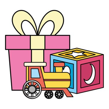 gift with block and train baby toys icons