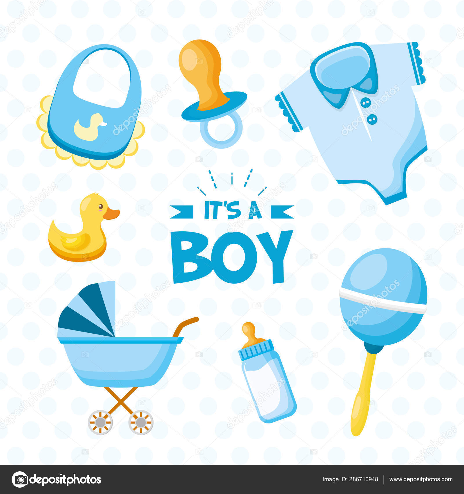 Boy Decoration Baby Shower Card Stock Vector C Yupiramos 286710948