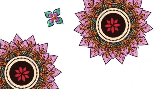 květiny v zahradě s etnickým vzorem Mandal bohémské