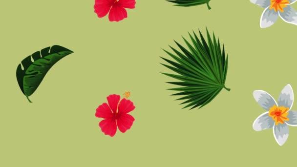 egzotikus levelek és virágok trópusi minta