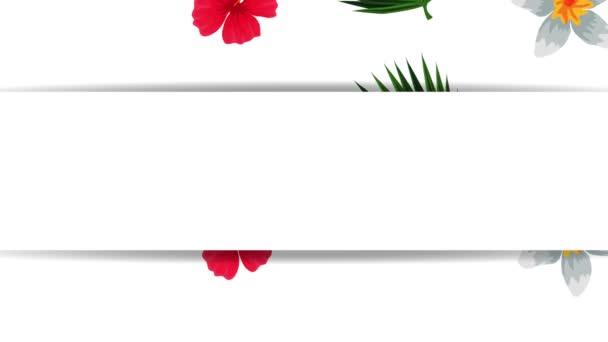 egzotikus levelek és virágok trópusi keretben