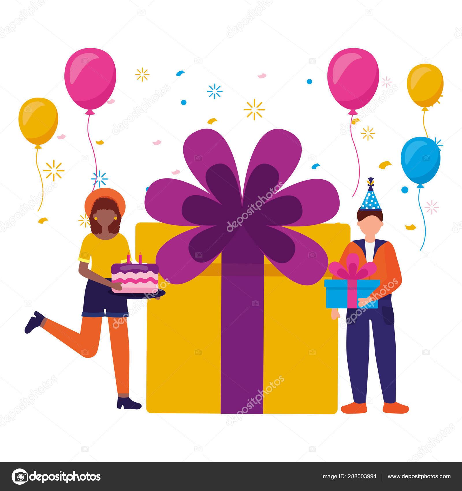 Mujer Y Hombre Regalo Pastel Globos Cumpleaños Celebración