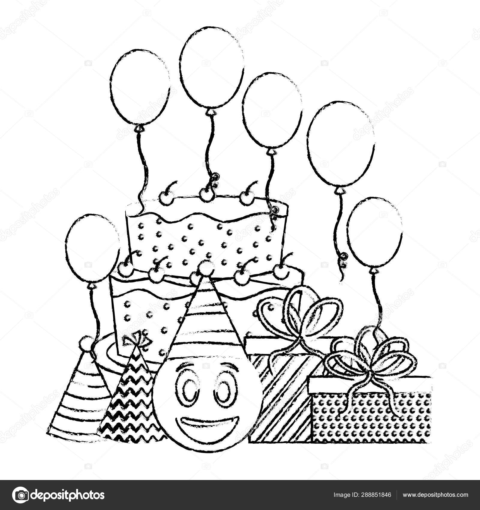 Admirable Birthday Cake Emoticon Face Ts Balloons And Party Hats Hand Funny Birthday Cards Online Unhofree Goldxyz