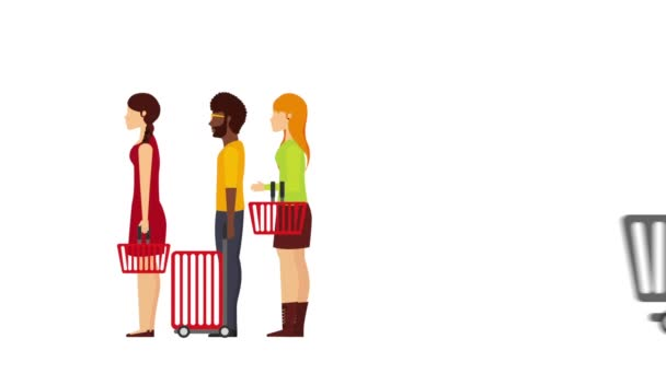 Menschen mit Einkaufswagen und Körben