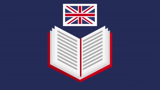 book with british flag learn english animation