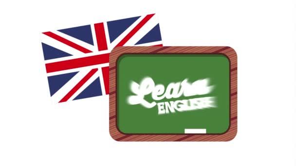 chalkboard and british flag learn english animation