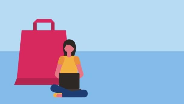žena zákazníkům pomocí marketingu pro přenosné počítače
