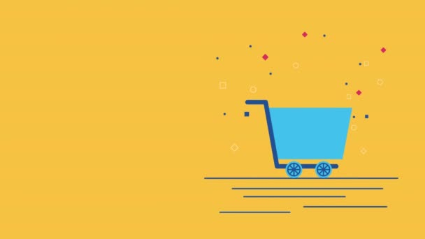 shopping cart with giftbox commercial animation